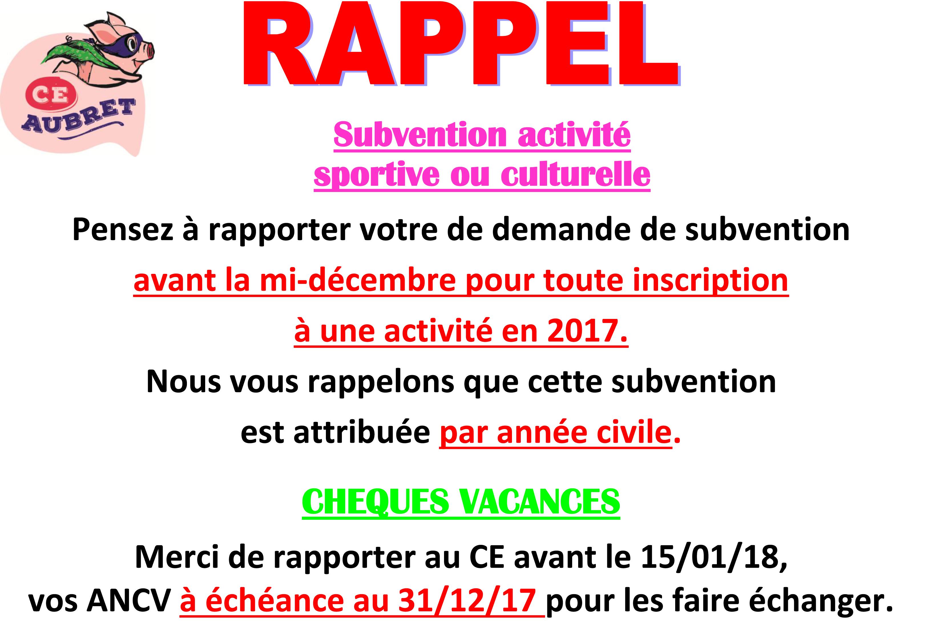 RAPPEL Subvention activité