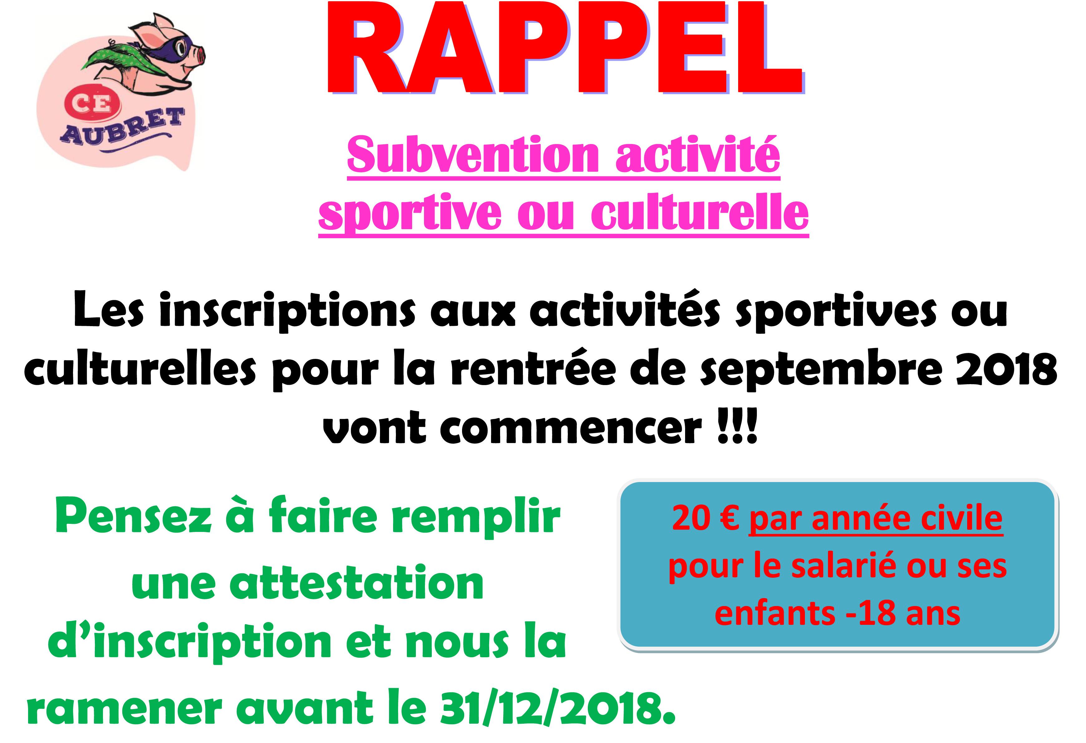 RAPPEL Subvention activité JUIN