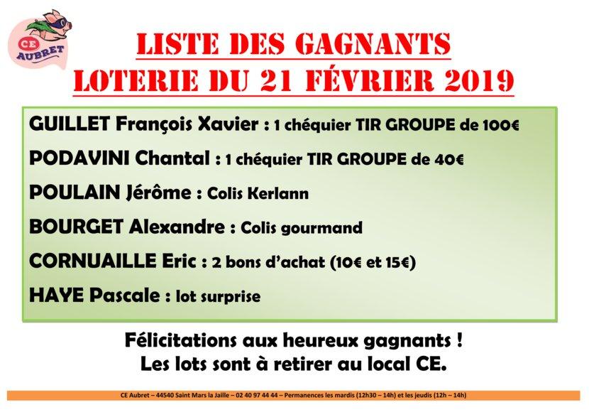 thumbnail of LISTE GAGNANTS loterie fev19